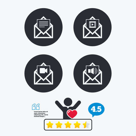 voice mail: Mail envelope icons. Message document symbols. Video and Audio voice message signs. Star vote ranking. Client like and think bubble. Quotes with message.