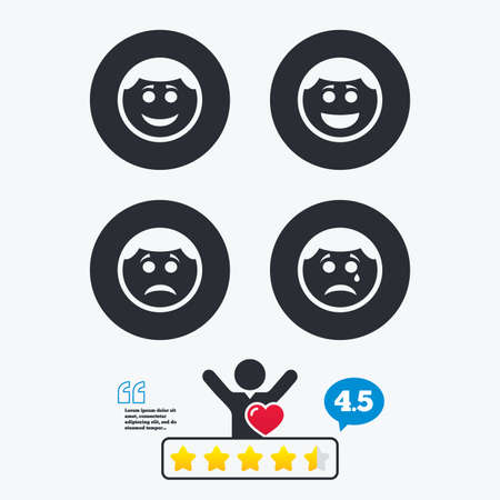 round face: Circle smile face icons. Happy, sad, cry signs. Happy smiley chat symbol. Sadness depression and crying signs. Star vote ranking. Client like and think bubble. Quotes with message.