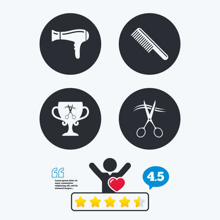 blow drying: Hairdresser icons. Scissors cut hair symbol. Comb hair with hairdryer symbol. Barbershop winner award cup. Star vote ranking. Client like and think bubble. Quotes with message.