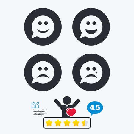 cara sonriente: cara de la sonrisa con forma de burbuja iconos. Feliz, triste, llorar signos. s�mbolo de chat sonriente feliz. La tristeza y la depresi�n signos de llanto. clasificaci�n voto estrella. Cliente como y pensar burbuja. Cotizaciones con el mensaje. Vectores