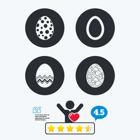pasch: Easter eggs icons. Circles and floral patterns symbols. Tradition Pasch signs. Star vote ranking. Client like and think bubble. Quotes with message. Illustration
