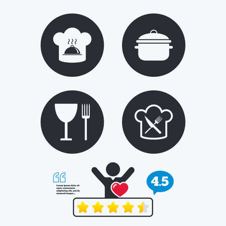 stew: Chief hat and cooking pan icons. Crosswise fork and knife signs. Boil or stew food symbols. Star vote ranking. Client like and think bubble. Quotes with message.