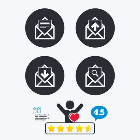 outbox: Mail envelope icons. Find message document symbol. Post office letter signs. Inbox and outbox message icons. Star vote ranking. Client like and think bubble. Quotes with message. Illustration