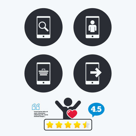 outcoming: Phone icons. Smartphone video call sign. Search, online shopping symbols. Outcoming call. Star vote ranking. Client like and think bubble. Quotes with message.