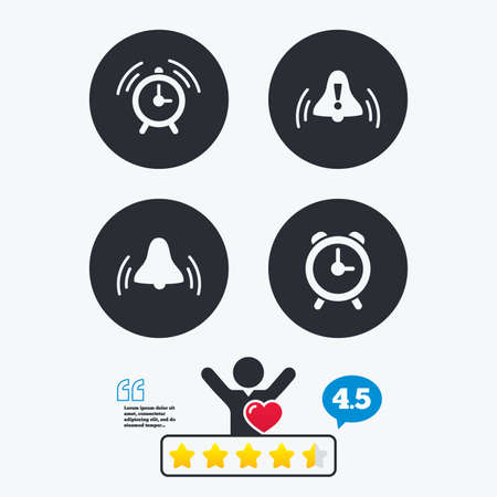 think up: Alarm clock icons. Wake up bell signs symbols. Exclamation mark. Star vote ranking. Client like and think bubble. Quotes with message. Illustration