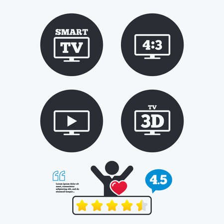 3d mode: Smart TV mode icon. Aspect ratio 4:3 widescreen symbol. 3D Television sign. Star vote ranking. Client like and think bubble. Quotes with message.
