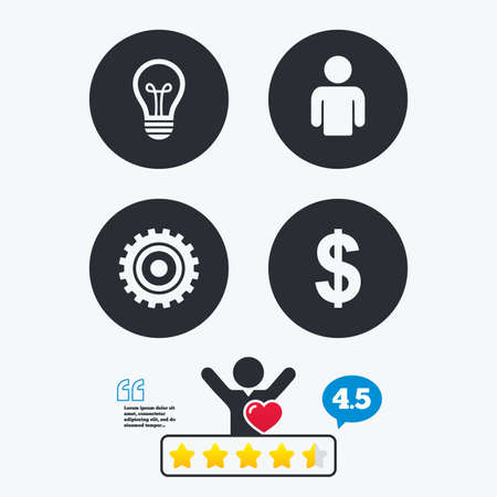 energy ranking: Business icons. Human silhouette and lamp bulb idea signs. Dollar currency and gear symbols. Star vote ranking. Client like and think bubble. Quotes with message.