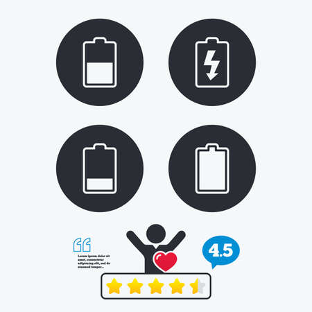 electrochemical: Battery charging icons. Electricity signs symbols. Charge levels: full, half and low. Star vote ranking. Client like and think bubble. Quotes with message. Illustration