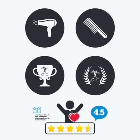 cut hair: Hairdresser icons. Scissors cut hair symbol. Comb hair with hairdryer symbol. Barbershop laurel wreath winner award. Star vote ranking. Client like and think bubble. Quotes with message.