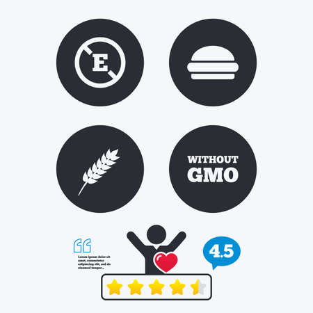 stabilizers: Food additive icon. Hamburger fast food sign. Gluten free and No GMO symbols. Without E acid stabilizers. Star vote ranking. Client like and think bubble. Quotes with message. Illustration