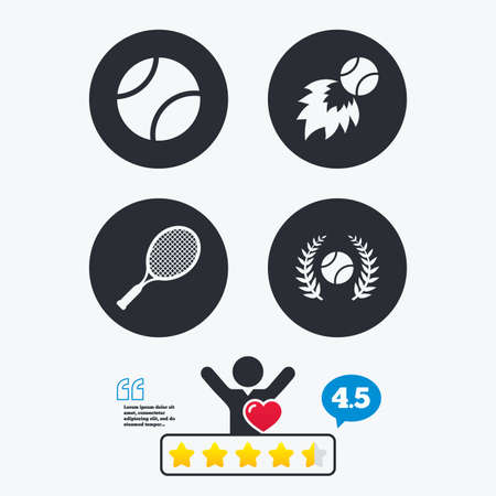 fireball: Tennis ball and racket icons. Fast fireball sign. Sport laurel wreath winner award symbol. Star vote ranking. Client like and think bubble. Quotes with message.