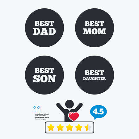 dad son: Best mom and dad, son and daughter icons. Award symbols. Star vote ranking. Client like and think bubble. Quotes with message. Illustration
