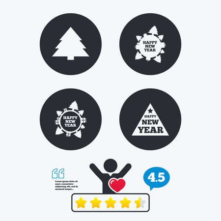 happy client: Happy new year icon. Christmas trees signs. World globe symbol. Star vote ranking. Client like and think bubble. Quotes with message. Illustration