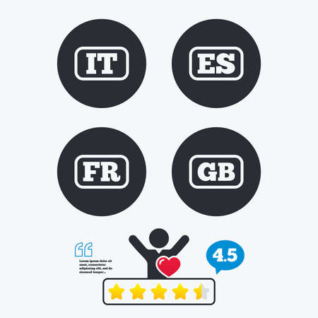 like it: Language icons. IT, ES, FR and GB translation symbols. Italy, Spain, France and England languages. Star vote ranking. Client like and think bubble. Quotes with message.