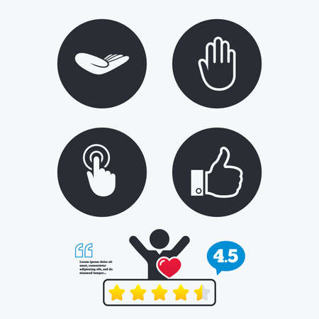 vote here: Hand icons. Like thumb up symbol. Click here press sign. Helping donation hand. Star vote ranking. Client like and think bubble. Quotes with message.