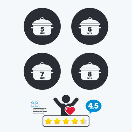 5 6: Cooking pan icons. Boil 5, 6, 7 and 8 minutes signs. Stew food symbol. Star vote ranking. Client like and think bubble. Quotes with message.