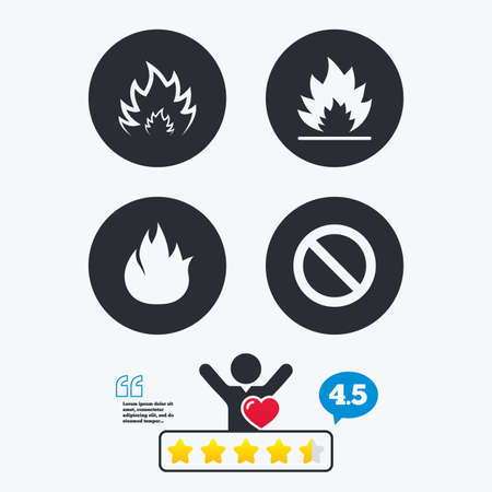 flame like: Fire flame icons. Prohibition stop sign symbol. Star vote ranking. Client like and think bubble. Quotes with message.