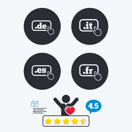 like it: Top-level internet domain icons. De, It, Es and Fr symbols with hand pointer. Unique national DNS names. Star vote ranking. Client like and think bubble. Quotes with message.
