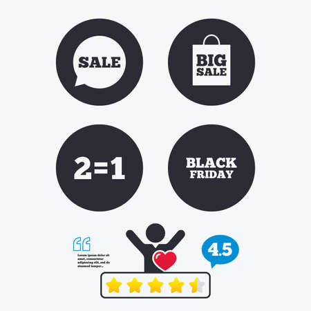 sign equals: Sale speech bubble icons. Two equals one. Black friday sign. Big sale shopping bag symbol. Star vote ranking. Client like and think bubble. Quotes with message. Illustration