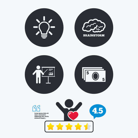 standing lamp: Presentation billboard, brainstorm icons. Cash money and lamp idea signs. Man standing with pointer. Scheme and Diagram symbol. Star vote ranking. Client like and think bubble. Quotes with message. Illustration