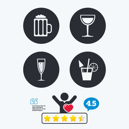 alcoholic drinks: Alcoholic drinks icons. Champagne sparkling wine with bubbles and beer symbols. Wine glass and cocktail signs. Star vote ranking. Client like and think bubble. Quotes with message.