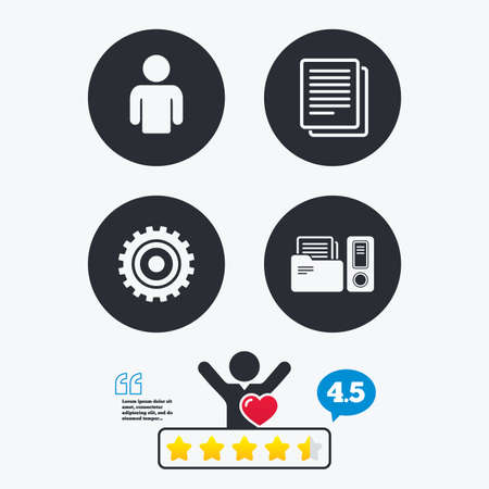 auditing: Accounting workflow icons. Human silhouette, cogwheel gear and documents folders signs symbols. Star vote ranking. Client like and think bubble. Quotes with message. Illustration