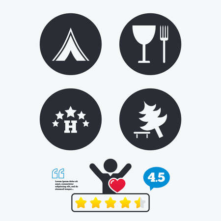break down: Food, hotel, camping tent and tree icons. Wineglass and fork. Break down tree. Road signs. Star vote ranking. Client like and think bubble. Quotes with message.