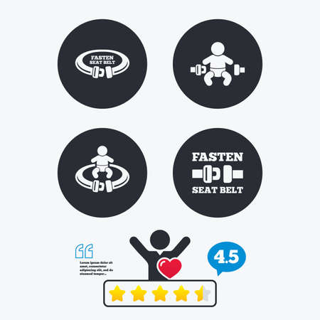 think safety: Fasten seat belt icons. Child safety in accident symbols. Vehicle safety belt signs. Star vote ranking. Client like and think bubble. Quotes with message. Illustration