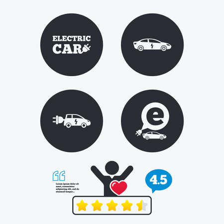 hatchback: Electric car icons. Sedan and Hatchback transport symbols. Eco fuel vehicles signs. Star vote ranking. Client like and think bubble. Quotes with message.