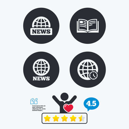 literature: News icons. World globe symbols. Open book sign. Education literature. Star vote ranking. Client like and think bubble. Quotes with message. Illustration