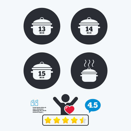 14: Cooking pan icons. Boil 13, 14 and 15 minutes signs. Stew food symbol. Star vote ranking. Client like and think bubble. Quotes with message.