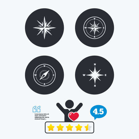 coordinate: Windrose navigation icons. Compass symbols. Coordinate system sign. Star vote ranking. Client like and think bubble. Quotes with message.