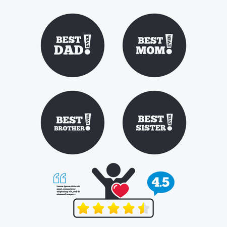star award: Best mom and dad, brother and sister icons. Award with exclamation symbols. Star vote ranking. Client like and think bubble. Quotes with message. Illustration