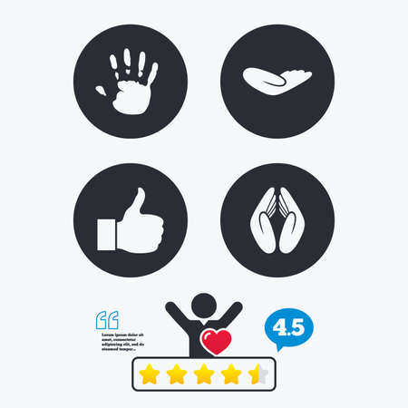 think up: Hand icons. Like thumb up symbol. Insurance protection sign. Human helping donation hand. Prayer hands. Star vote ranking. Client like and think bubble. Quotes with message.