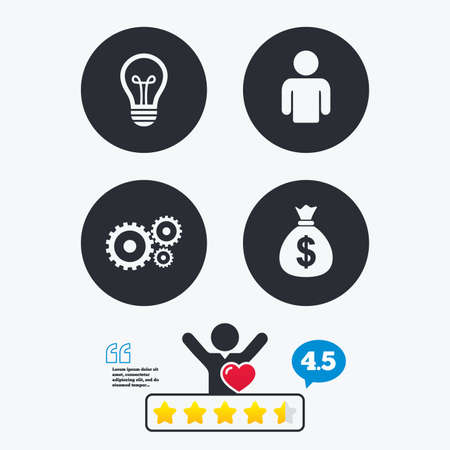 energy ranking: Business icons. Human silhouette and lamp bulb idea signs. Dollar money bag and gear symbols. Star vote ranking. Client like and think bubble. Quotes with message.