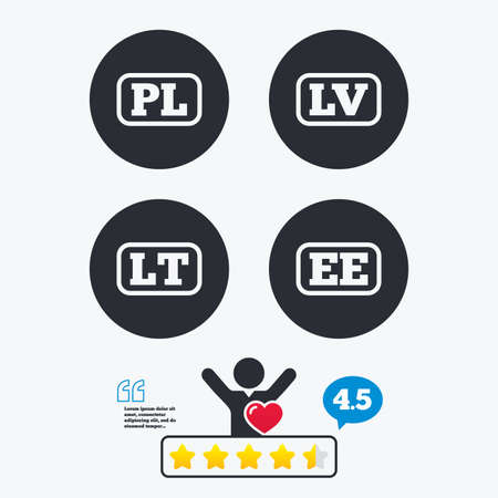 lt: Language icons. PL, LV, LT and EE translation symbols. Poland, Latvia, Lithuania and Estonia languages. Star vote ranking. Client like and think bubble. Quotes with message.