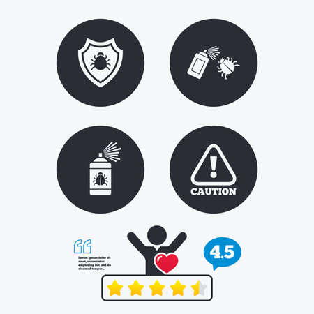 insanitary: Bug disinfection icons. Caution attention and shield symbols. Insect fumigation spray sign. Star vote ranking. Client like and think bubble. Quotes with message. Illustration