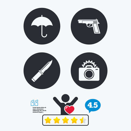 edged: Gun weapon icon.Knife, umbrella and photo camera with flash signs. Edged hunting equipment. Prohibition objects. Star vote ranking. Client like and think bubble. Quotes with message.