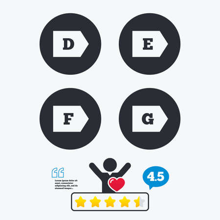 economy class: Energy efficiency class icons. Energy consumption sign symbols. Class D, E, F and G. Star vote ranking. Client like and think bubble. Quotes with message. Illustration