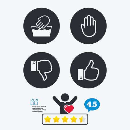 washable: Hand icons. Like and dislike thumb up symbols. Not machine washable sign. Stop no entry. Star vote ranking. Client like and think bubble. Quotes with message. Illustration