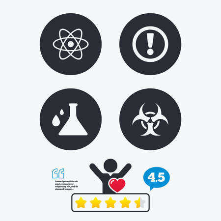 biohazard: Attention and biohazard icons. Chemistry flask sign. Atom symbol. Star vote ranking. Client like and think bubble. Quotes with message.