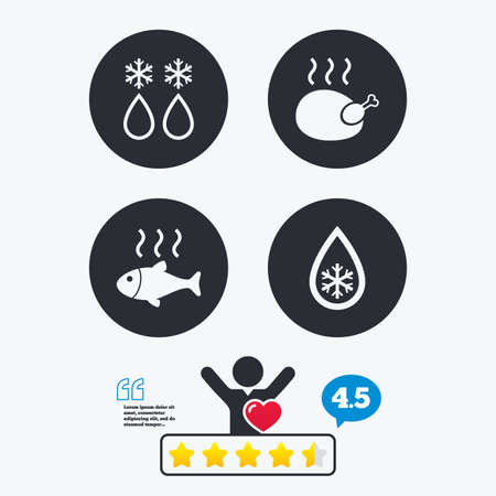 warm water fish: Defrosting drop and snowflake icons. Hot fish and chicken signs. From ice to water symbol. Star vote ranking. Client like and think bubble. Quotes with message. Illustration