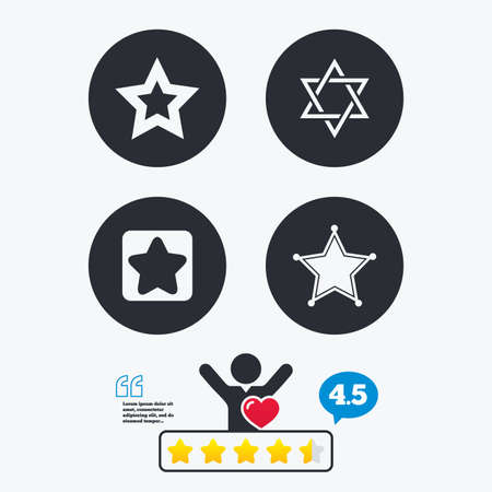 yiddish: Star of David icons. Sheriff police sign. Symbol of Israel. Star vote ranking. Client like and think bubble. Quotes with message. Illustration
