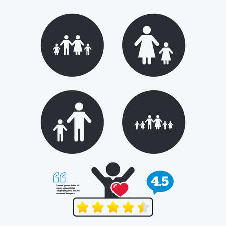 care allowance: Large family with children icon. Parents and kids symbols. One-parent family signs. Mother and father divorce. Star vote ranking. Client like and think bubble. Quotes with message. Illustration