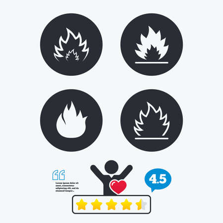 inflammable: Fire flame icons. Heat symbols. Inflammable signs. Star vote ranking. Client like and think bubble. Quotes with message.