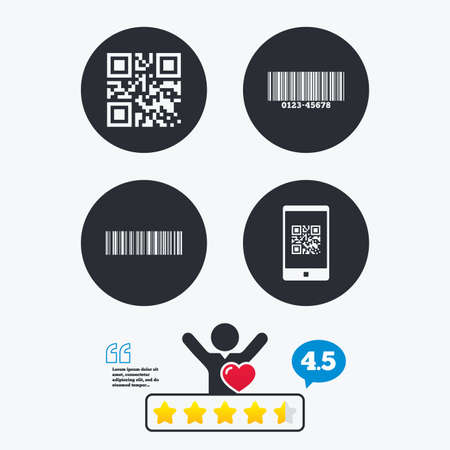 barcode scan: Bar and Qr code icons. Scan barcode in smartphone symbols. Star vote ranking. Client like and think bubble. Quotes with message.