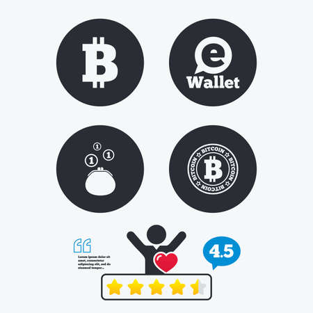 p2p: Bitcoin icons. Electronic wallet sign. Cash money symbol. Star vote ranking. Client like and think bubble. Quotes with message.