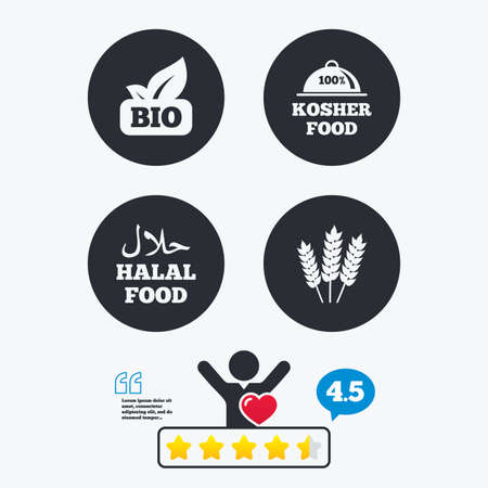 free vote: Natural Bio food icons. Halal and 100% Kosher signs. Gluten free agricultural symbol. Star vote ranking. Client like and think bubble. Quotes with message.