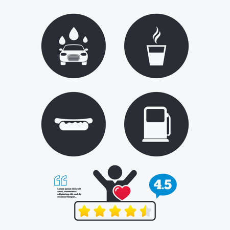 hotdog: Petrol or Gas station services icons. Automated car wash signs. Hotdog sandwich and hot coffee cup symbols. Star vote ranking. Client like and think bubble. Quotes with message.