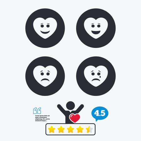 ojos llorando: Coraz�n sonrisa iconos de la cara. Feliz, triste, llorar signos. s�mbolo de chat sonriente feliz. La tristeza y la depresi�n signos de llanto. clasificaci�n voto estrella. Cliente como y pensar burbuja. Cotizaciones con el mensaje.